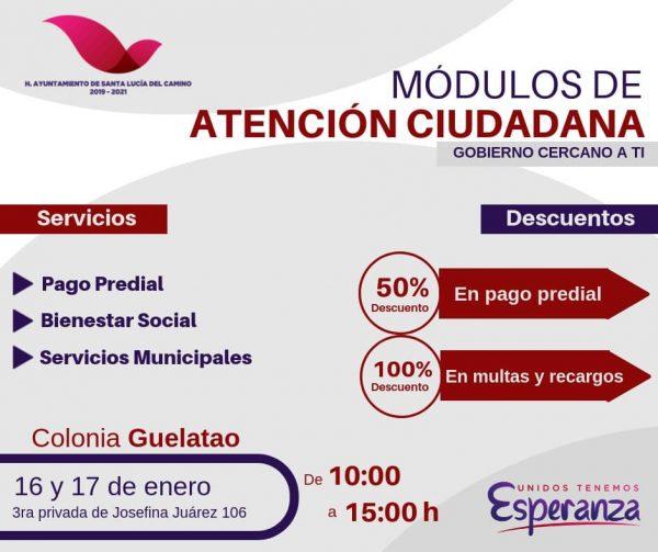 Instala gobierno de Santa Lucía módulos itinerantes de atención ciudadana y pago predial