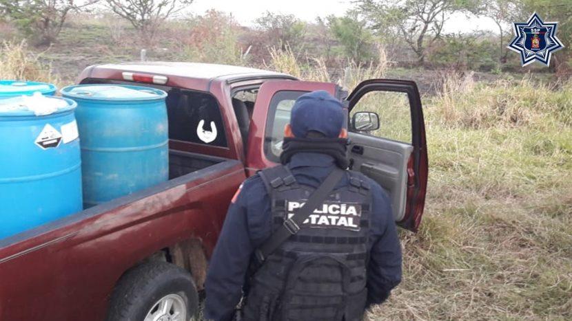 Asegura Policía Estatal más  de 500 litros de hidrocarburo