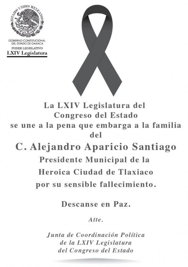 Condena Legislatura de Oaxaca asesinato de edil de Tlaxiaco