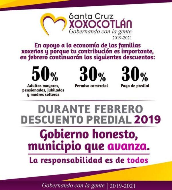 Invitan a familias xoxeñas a beneficiarse con programa de descuentos en pago predial