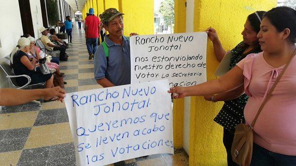 Pese a negativa de gobernación, exige Rancho Nuevo el Jonotal nuevas elecciones para desempate
