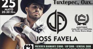 El cantautor mexicano Joss Favela se presentará en Tuxtepec