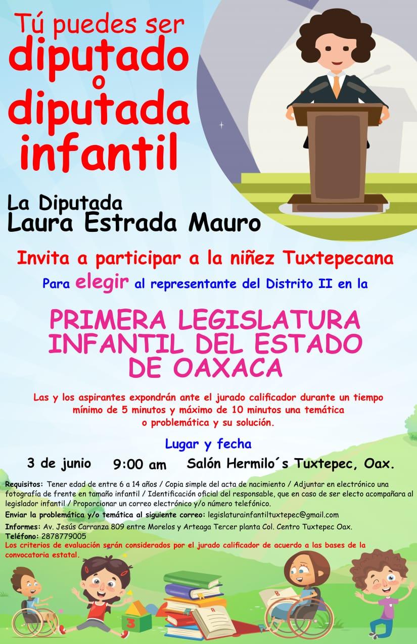 Invita Laura Estrada a niñez tuxtepecana a participar como Legislador Infantil