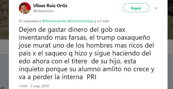 Ulises Ruiz culpa a José Murat de estar detrás de la denuncia de La Haya, financiado con dinero del estado.
