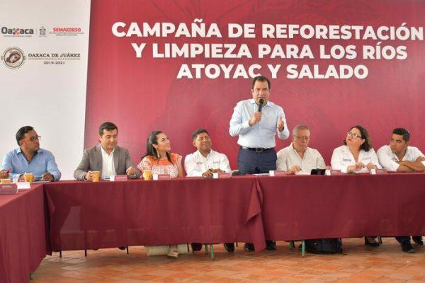 Reafirma Oswaldo García compromiso de  limpiar y reforestar los ríos Atoyac y Salado