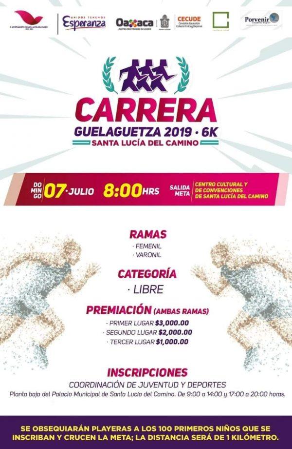 Invita Santa Lucía del Camino a la Carrera Guelaguetza 2019 -6K