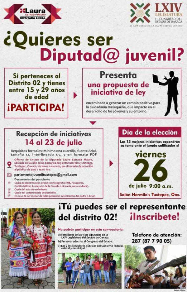 Convoca diputada Laura Estrada a jóvenes al Primer Parlamento Juvenil 2019