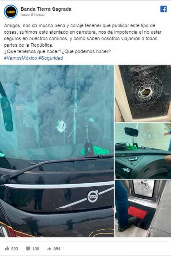 """Atentado contra la Banda """"Tierra Sagrada"""" en Oaxaca"""