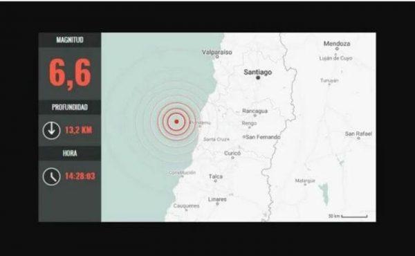 Fuerte sismo remece edificios en Santiago de Chile