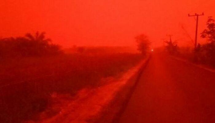 El cielo se torna rojo en Indonesia por incendios forestales