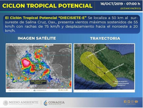 Se esperan fuertes lluvias para la Costa, Istmo, Sierra Sur, Mixteca y Cuenca