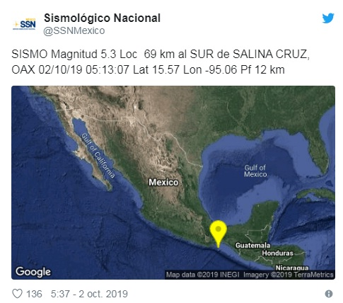 Sismo de 5.6 grados en Oaxaca