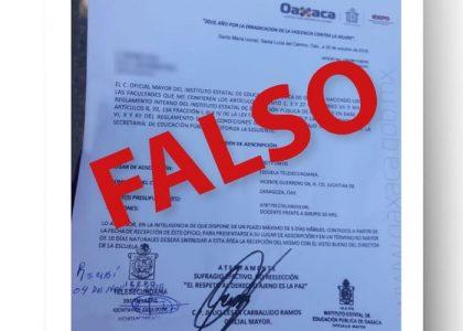 Alerta IEEPO sobre órdenes de adscripción falsas