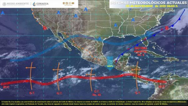 Se prevén lluvias puntuales muy fuertes en Veracruz, Oaxaca, Chiapas, Tabasco y Campeche