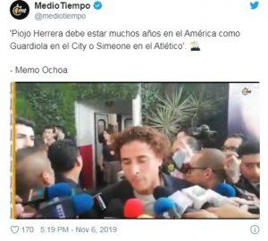 Miguel Herrera debe ser el Guardiola del América, señala Guillermo Ochoa