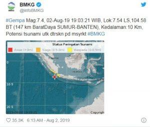 Las autoridades ordenaron a la población evacuar inmediatamente las zonas costeras de Banten, en Java; no se reportan daños materiales hasta el momento