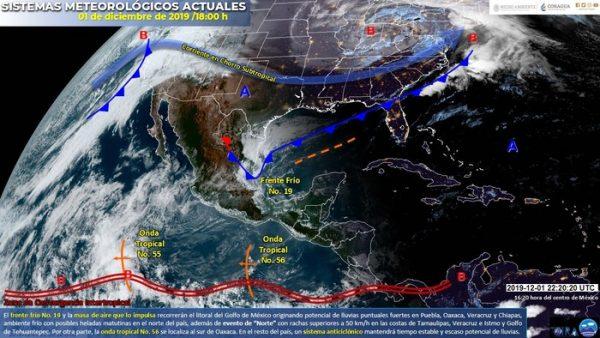Frente frío 19 recorrerá noreste y oriente del país