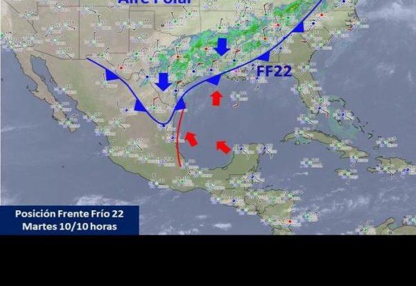 Frente frío 22 traería lluvias, frío y vientos del norte
