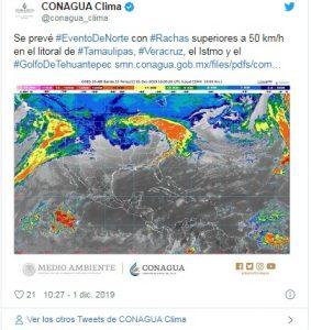 Pronostican evento de Norte en Istmo y Golfo de Tehuantepec