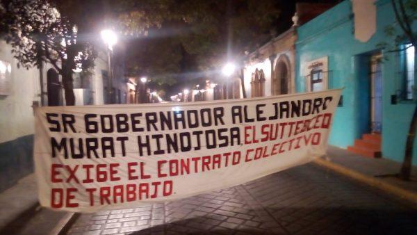 Integrantes del SUTTEBCEO estallan huelga indefinida, piden contrato colectivo