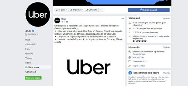 Desmiente UBER que vaya a operar en Oaxaca