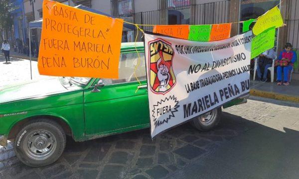 Reactivan bloqueo trabajadores de salud en centro de Oaxaca