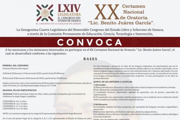 """Convoca Congreso Local al XX Certamen Nacional de Oratoria """"Licenciado Benito Juárez García"""""""