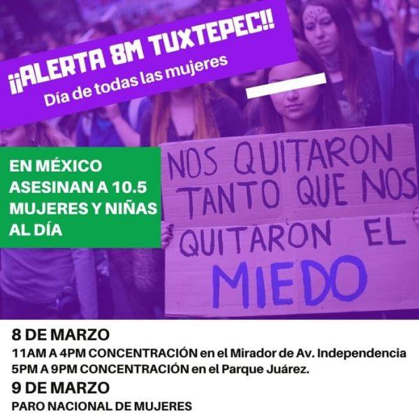 Tuxtepec, se suma al paro nacional #UnDíaSinMujeres