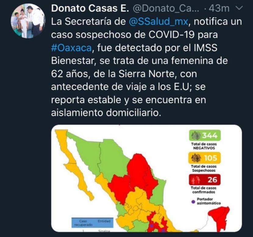 Aplica Oaxaca protocolo ante caso sospechoso de COVID-19