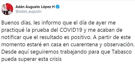 Gobernador de Tabasco da positivo de Covid-19