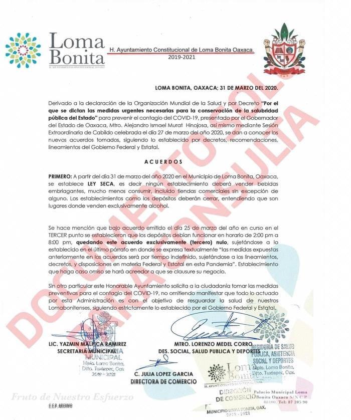Ayuntamiento de Loma Bonita emite ley seca por coronavirus