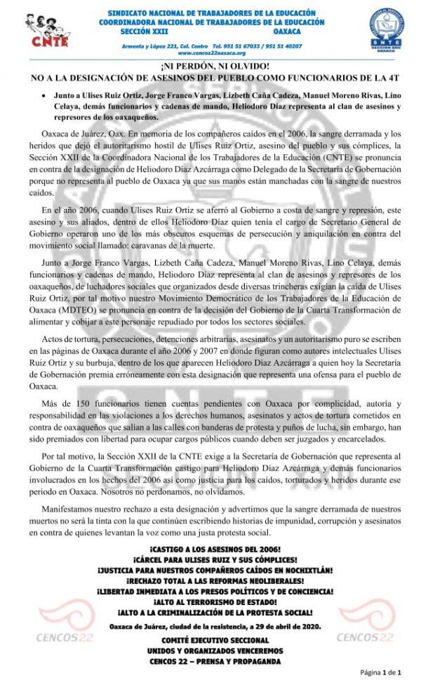 Rechaza Sección 22 nombramiento de Díaz Escárraga como delegado de Segob en Oaxaca