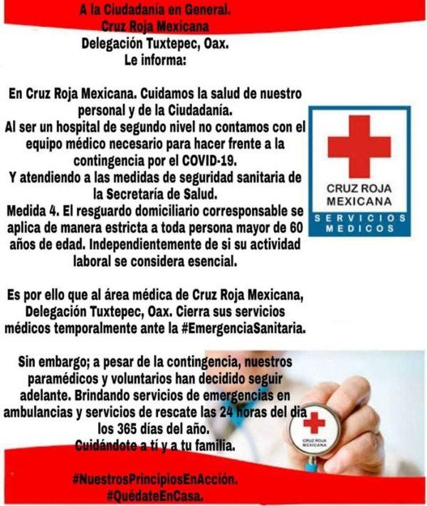 Cruz Roja Tuxtepec suspende servicios médicos por contingencia de Covid-19