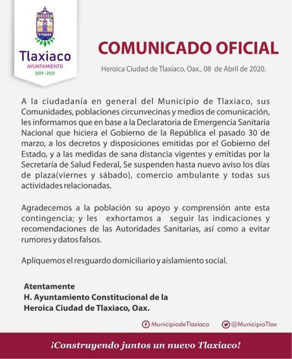 En Tlaxiaco suspenden días de plaza e instalación de puestos ambulantes, por contingencia