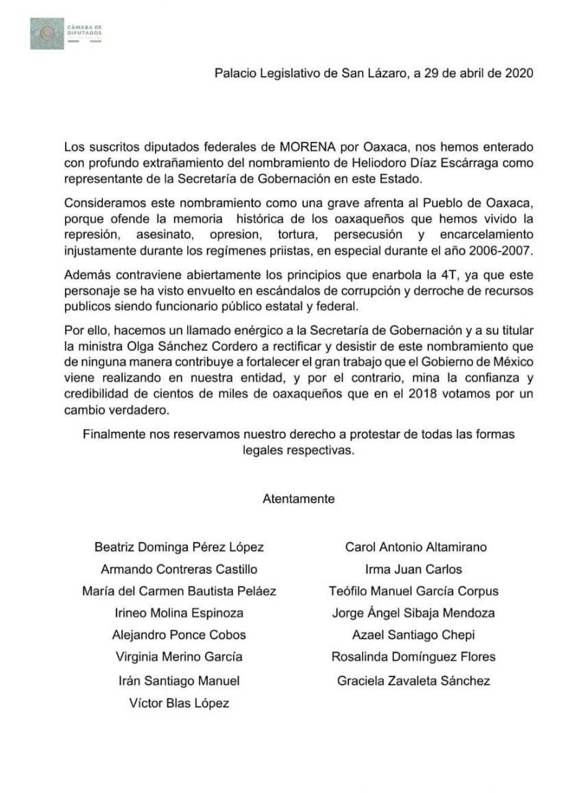 Diputados Federales de Morena por Oaxaca, exigen renuncia de Heliodoro Díaz