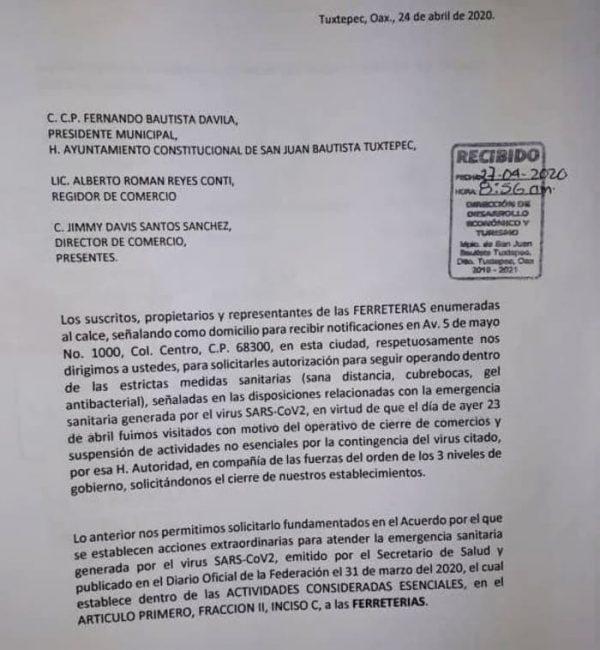 Ferreteros de Tuxtepec, piden a Dávila dejarlos trabajar
