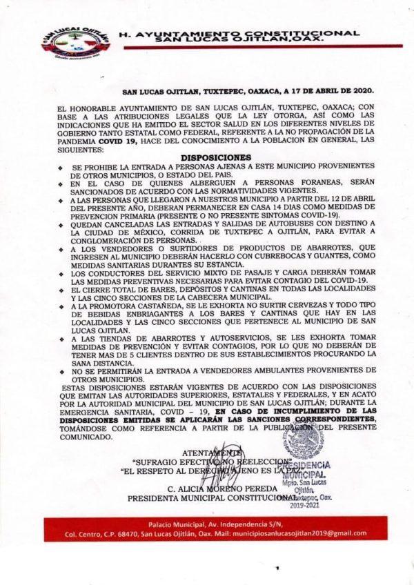 San Lucas Ojitlán; refuerzan medidas contra covid-19