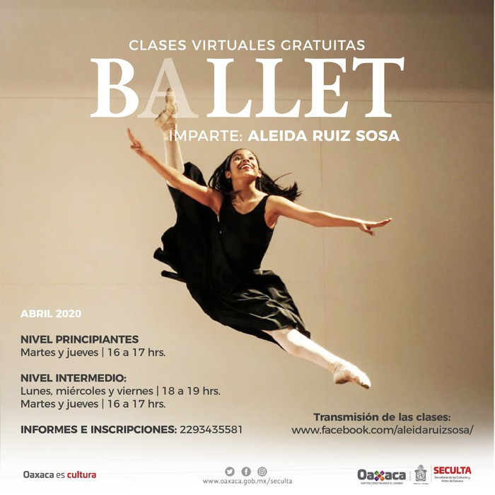 Transmitirá Seculta clases virtuales de ballet gratuitas