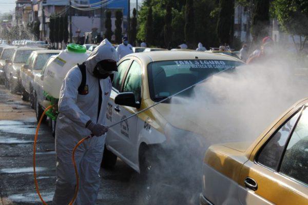 Refuerzan sanitización en transporte público de Huajuapan de León