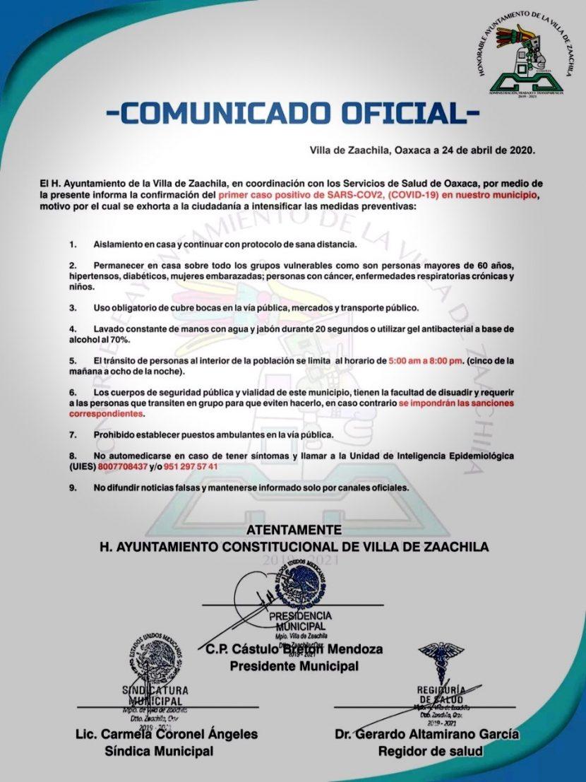 Zaachila registra primer caso de Covid-19