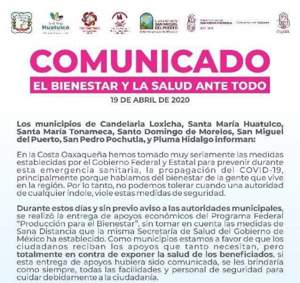 Denuncian entrega de recursos federales en Huatulco, sin respetar sana distancia por contingencia de covid-19