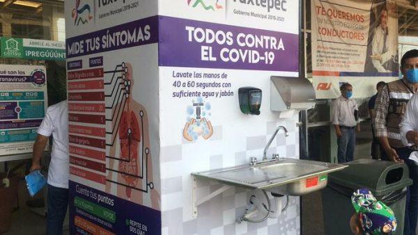 Instalan módulo de lavado de manos en terminal de autobuses en Tuxtepec