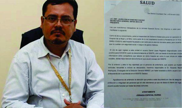 Investiga FGR a ex jefe jurisdiccional positivo de Coronavirus, que se escapó del hospital en Juchitán