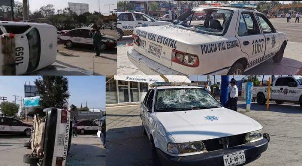 Taxistas de Etla vandalizan patrullas de la policía vial de Oaxaca