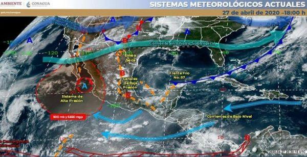 Pronostican lluvias fuertes con descargas eléctricas con posible caída de granizo para Veracruz y Oaxaca