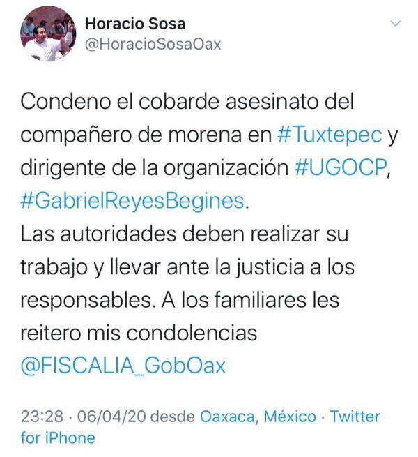 Presidente de Jucopo condena asesinato de regidor de Tuxtepec