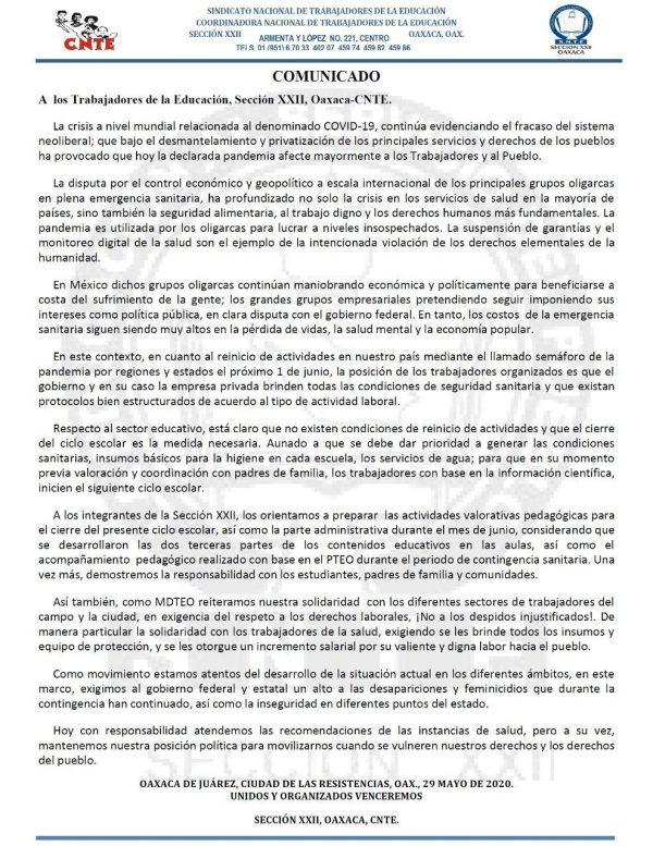 Llama Sección 22 a preparar actividades para cierre de ciclo escolar en Oaxaca
