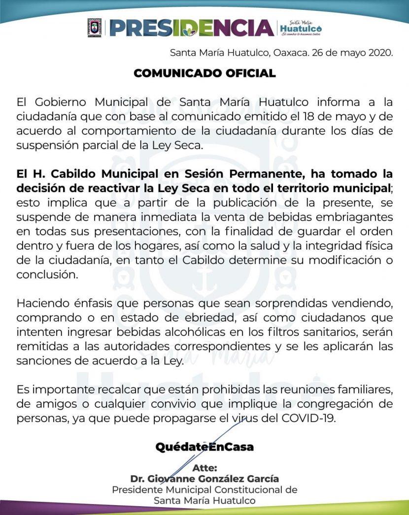 Regresa Ley Seca en Huatulco por mal comportamiento de sus habitantes