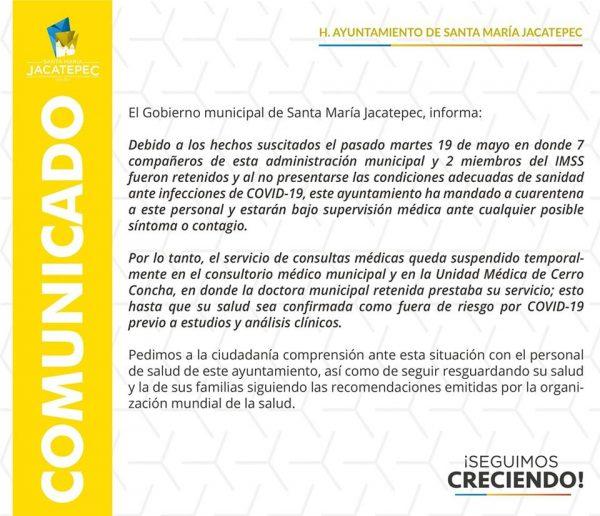 Mandan a cuarentena a retenidos en La Joya Jacatepec