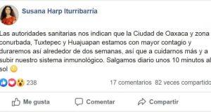 Oaxaca, Tuxtepec y Huajuapan con alto contagios dos semanas más: Susana Harp